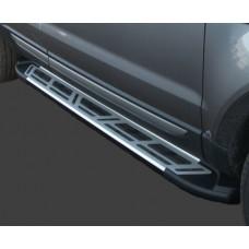 Пороги алюминиевые (Corund Silver) Hyundai Tucson (2004-2009)
