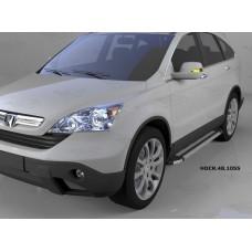 Пороги алюминиевые (Brillant) Honda (Хонда) CR-V (2007-2012) (серебр)