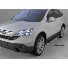 Пороги алюминиевые (Brillant) Honda (Хонда) CR-V (2007-2012) (черн/нерж)