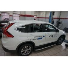 Пороги алюминиевые (Alyans) Honda (Хонда) CR-V (2012--2014 / 2015-)