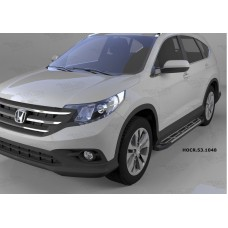 Пороги алюминиевые (Corund Silver) Honda (Хонда) CR-V (2012--2014 / 2015-)