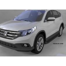 Пороги алюминиевые (Sapphire Black) Honda (Хонда) CR-V (2012-2014 /2015-)