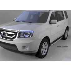 Пороги алюминиевые (Brillant) Honda (Хонда) Pilot (2008-2010/2010-) (черн/нерж)