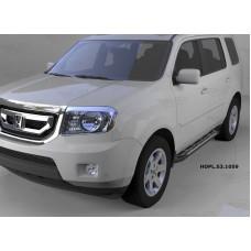 Пороги алюминиевые (Corund Silver) Honda (Хонда) Pilot (2008-2010/2010-)