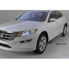 Пороги алюминиевые (Corund Silver) Honda (Хонда) CrossTour (2010-) (нагр. до 40 кг.)