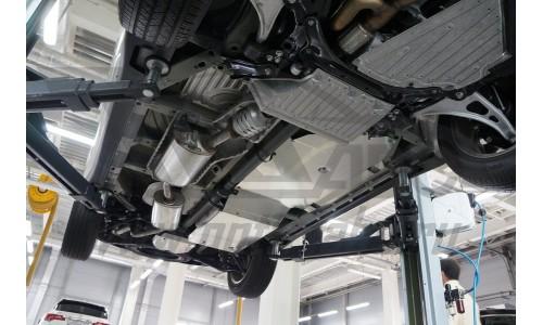 Защита днища Honda Pilot V-все (2016-)/Acura MDX'16 V-3,5 АКПП (2014- из 3 частей (без защиты картер на Honda Pilot  III (2016-)