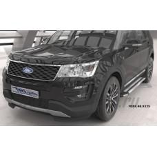 Пороги алюминиевые (Brillant) Ford Explorer (2011-/ 2015-) (серебр)