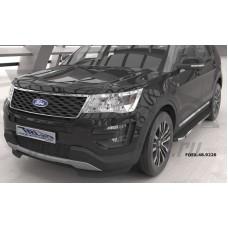 Пороги алюминиевые (Brillant) Ford Explorer (2011-/ 2015-) (черн/нерж)