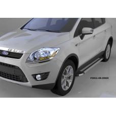 Пороги алюминиевые (Brillant) Ford Kuga (2008-2013) (серебр)