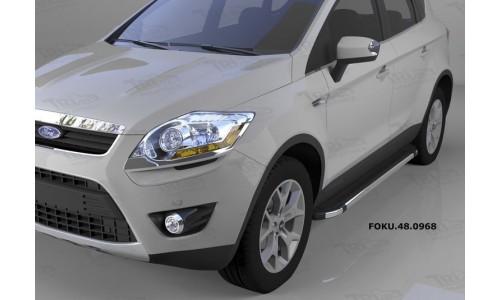 Пороги алюминиевые (Brillant) Ford Kuga (2008-2013) (черн./нерж.) на Ford Kuga (2008-2012)