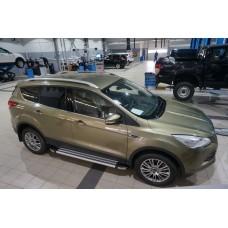 Пороги алюминиевые (Brillant) Ford Kuga (2013-) (серебр)