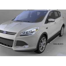 Пороги алюминиевые (Brillant) Ford Kuga (2013-) (черн/нерж)