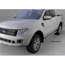 Пороги алюминиевые (Brillant) Ford Ranger (2012-) (серебр)