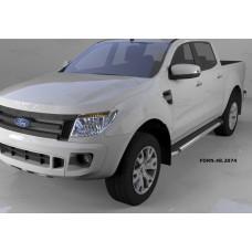 Пороги алюминиевые (Brillant) Ford Ranger (2012-) (черн./нерж.)