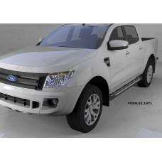 Пороги алюминиевые (Corund Silver) Ford Ranger (2012-) 4 дв.
