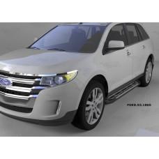 Пороги алюминиевые (Corund Silver) Ford Edge (2014-)