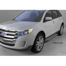 Пороги алюминиевые (Sapphire Silver) Ford Edge (2014-)