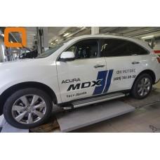 Пороги алюминиевые (Brillant) Honda Pilot (2016-)/ Acura MDX (2014-) (серебр)