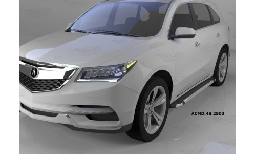 Пороги алюминиевые (Brillant) Honda Pilot (2016-)/Acura MDX (2014-)(черн/нерж) на Honda Pilot  III (2016-)
