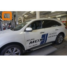 Пороги алюминиевые (Sapphire Silver) Honda Pilot (2016-)/Acura MDX (2014-)