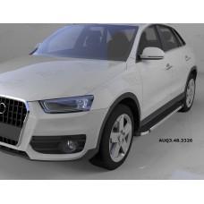 Пороги алюминиевые (Brillant) Audi (Ауди) Q3 (2011-) (черн/нерж)