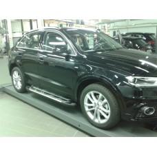 Пороги алюминиевые (Corund Silver) Audi (Ауди) Q3 (2011-)
