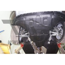 Защита картера двигателя и кпп Audi (Ауди) Q7,V-все, кроме 4.1D; 5.9D (2015-),из 2х частей (Композит