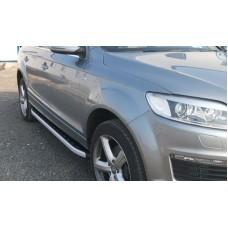 Пороги алюминиевые (Alyans) Audi (Ауди) Q7 (2009-2015) (нагр. до 40 кг.)