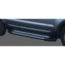 Пороги алюминиевые (Sapphire Silver) Audi (Ауди) Q7 (2009-2015) (нагр. до 40 кг.)