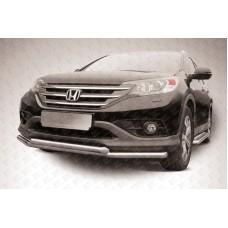 Защита переднего бампера d57+d42 двойная Honda CR-V (2013) (2L)