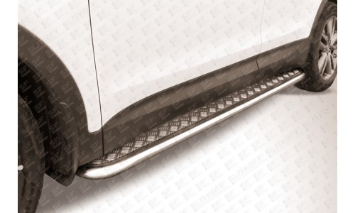 Пороги d42 с листом Hyundai Santa Fe (2012) на Hyundai Santa Fe (2013-2018)