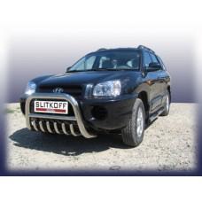 Кенгурятник низкий d76 с защитой картера Hyundai Santa Fe Classic (Таганрог)