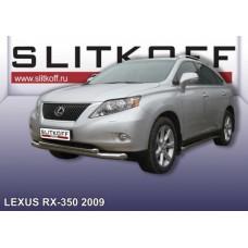 Защита переднего бампера d76+d57 двойная Lexus RX-350 (2009)