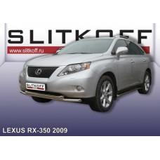 Защита переднего бампера d57+d57 двойная Lexus RX-350 (2009)