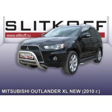 Кенгурятник низкий d76 Mitsubishi Outlander XL (рестайлинг 2010)