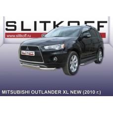 Защита переднего бампера d76+d57 двойная Mitsubishi Outlander XL (рестайлинг 2010)