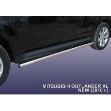Пороги d76 труба Mitsubishi Outlander XL (рестайлинг 2010)