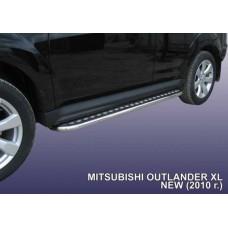 Пороги d42 с листом Mitsubishi Outlander XL (рестайлинг 2010)