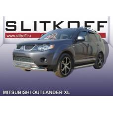 Защита переднего бампера d76+d57 двойная Mitsubishi Outlander XL (до 2010)