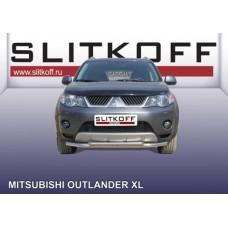 Защита переднего бампера d57+d42 двойная Mitsubishi Outlander XL (до 2010)