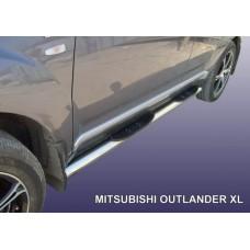 Пороги d76 с проступями Mitsubishi Outlander XL (до 2010)