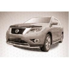 Защита переднего бампера d57+d57 двойная Nissan Pathfinder (2014)