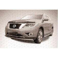 Защита переднего бампера d57 радиусная Nissan Pathfinder (2014)