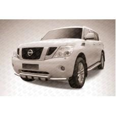 Защита переднего бампера d76+d76 двойная с профильной защитой картера Nissan Patrol