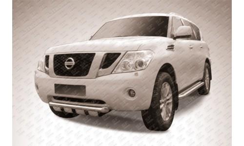 Защита переднего бампера d76 с профильной защитой картера Nissan Patrol на Nissan Patrol (2010-2013)