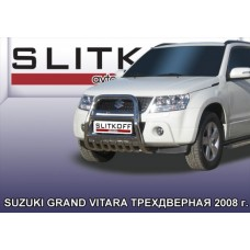 Кенгурятник высокий d57 с защитой картера Suzuki Grand Vitara (трехдверная 2008)