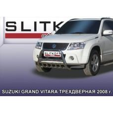 Кенгурятник низкий d57 c защитой картера Suzuki Grand Vitara (трехдверная 2008)
