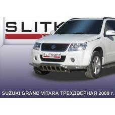 Защита переднего бампера d57 с защитой картера Suzuki Grand Vitara (трехдверная 2008)