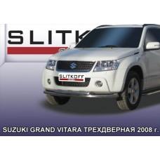 Защита переднего бампера d57 двойная Suzuki Grand Vitara (трехдверная 2008)