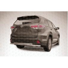 Защита заднего бампера d57+d42 двойная радиусная Toyota Highlander (2014)